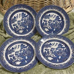 Churchill Willow China Dinner Plates 4-Piece Set